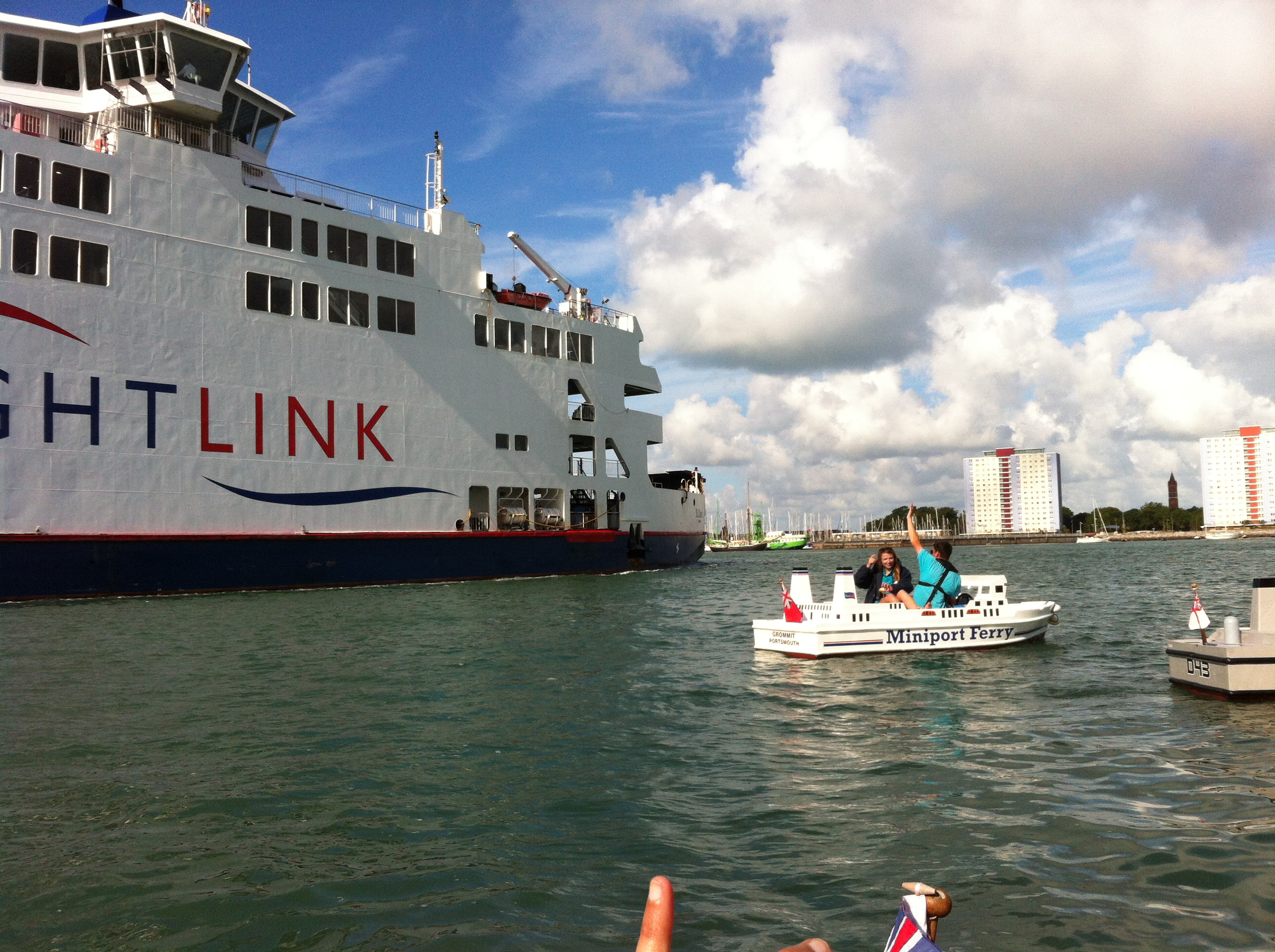 The Miniport ferry passing Whightlink Ferry!